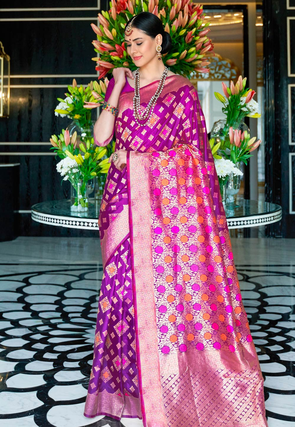 Violet Silk Saree With Blouse 199410