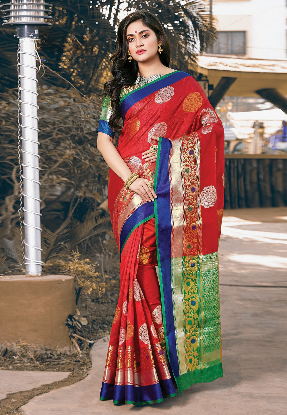 Red Silk Saree With Blouse 201594