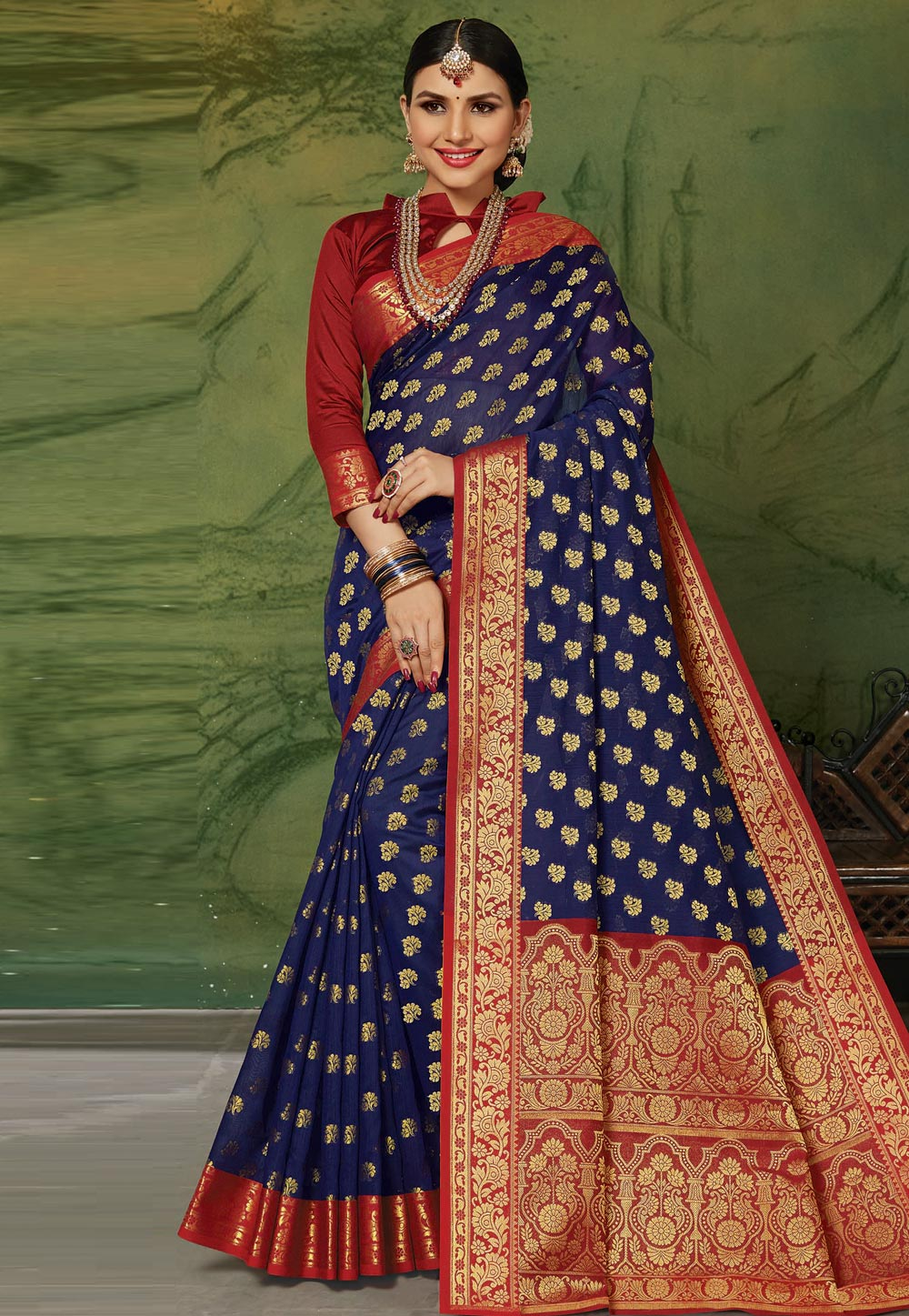 Blue Silk Saree With Blouse 201597