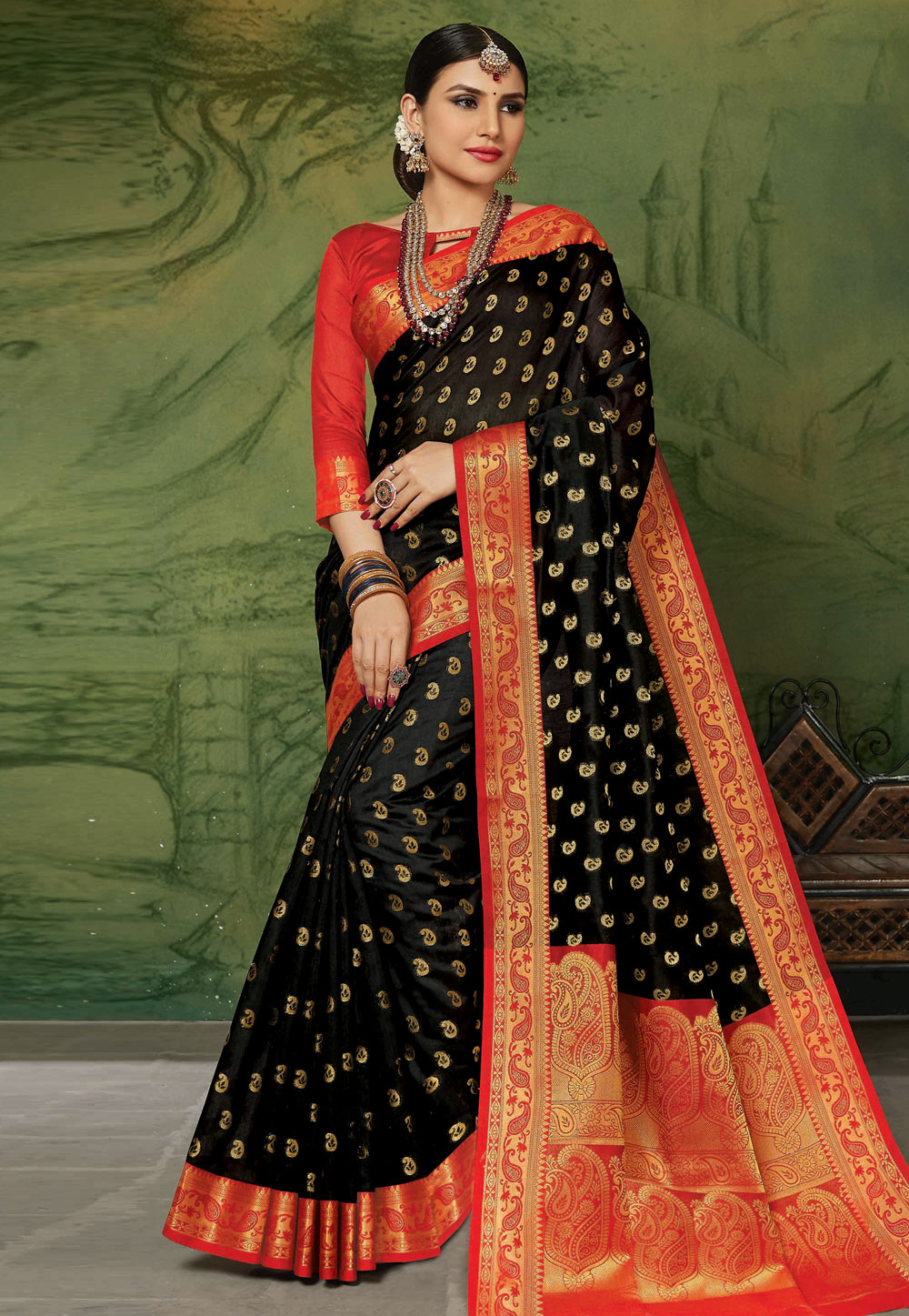 Black Silk Saree With Blouse 201601