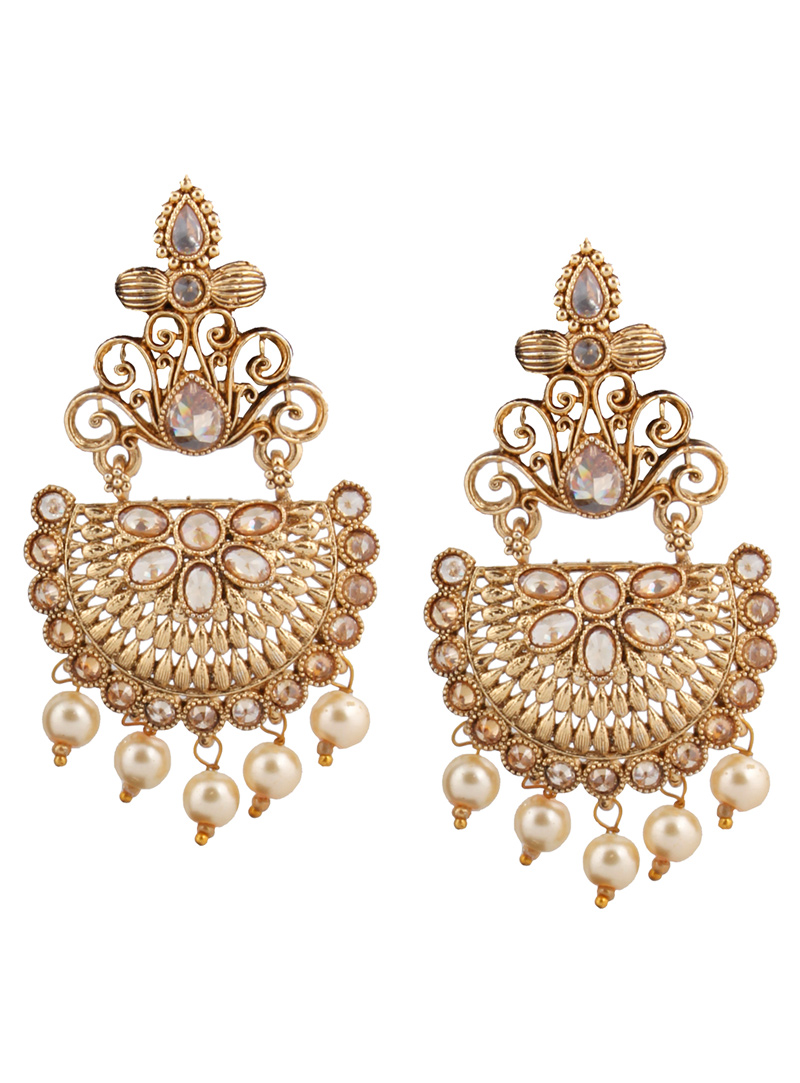 Golden Brass Earrings 151076