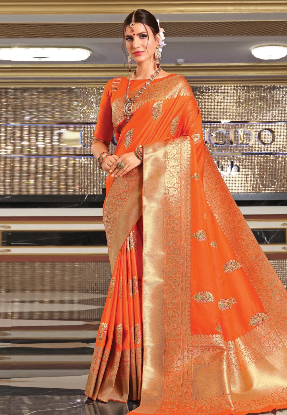 Orange Banarasi Silk Saree With Blouse 201609