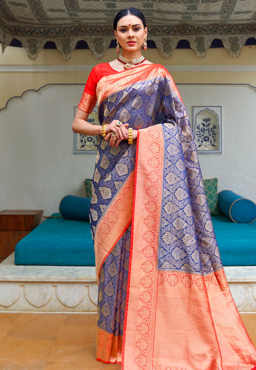 Blue Silk Festival Wear Saree 199736