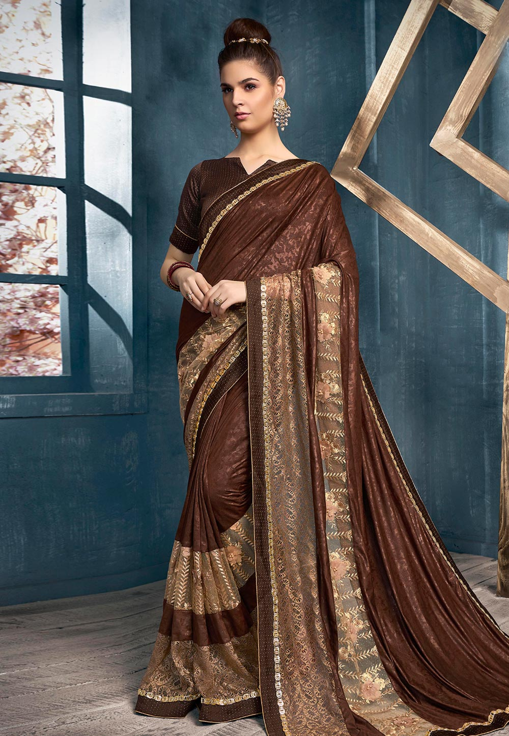 Brown Lycra Saree With Blouse 199845