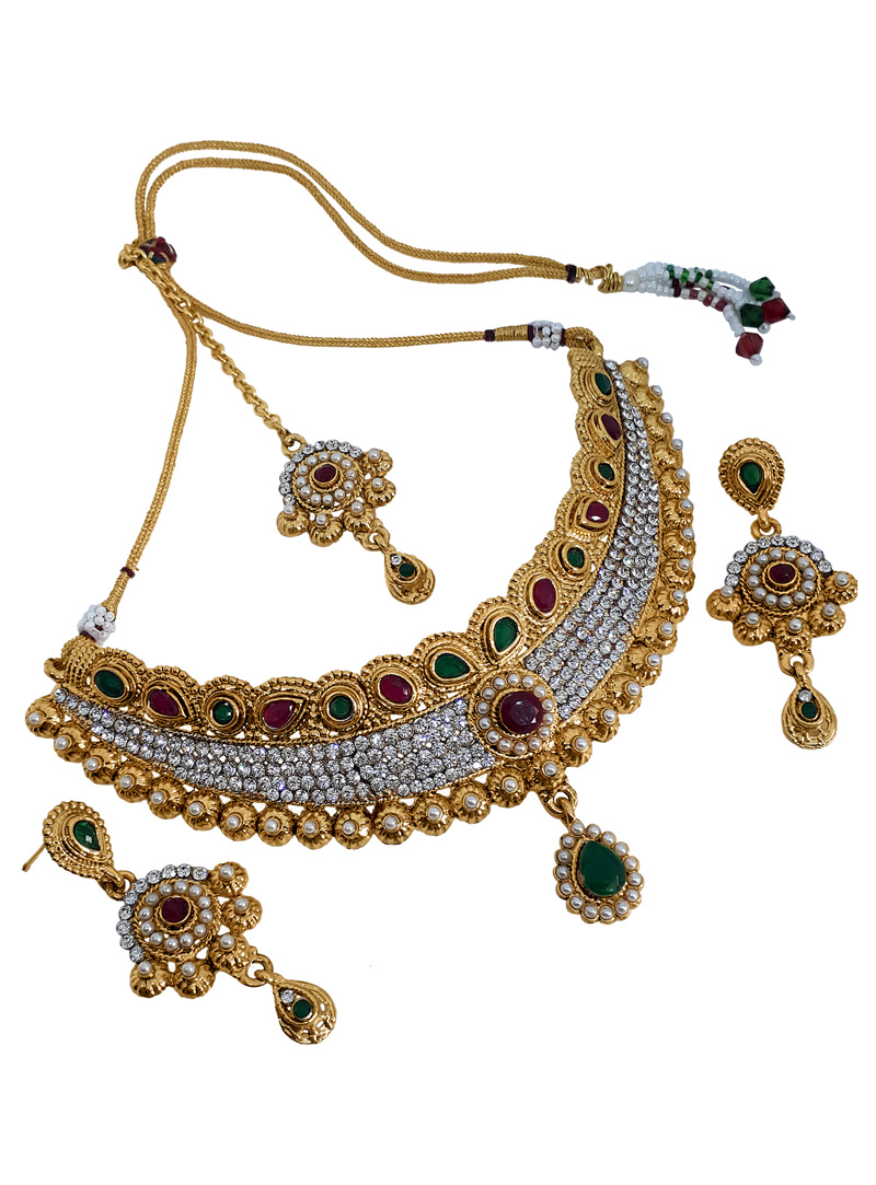 White Alloy Austrian Diamond Necklace With Earrings and Maang Tikka 153163