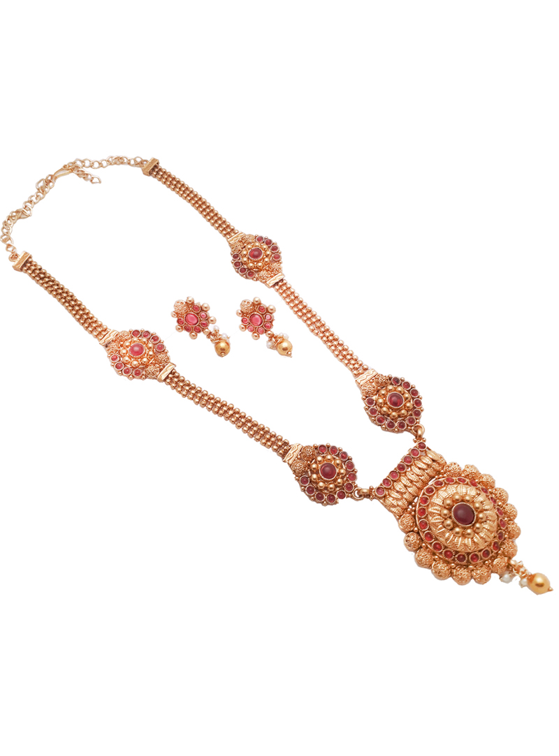 Pink Alloy Kundan Necklace With Earrings 148752