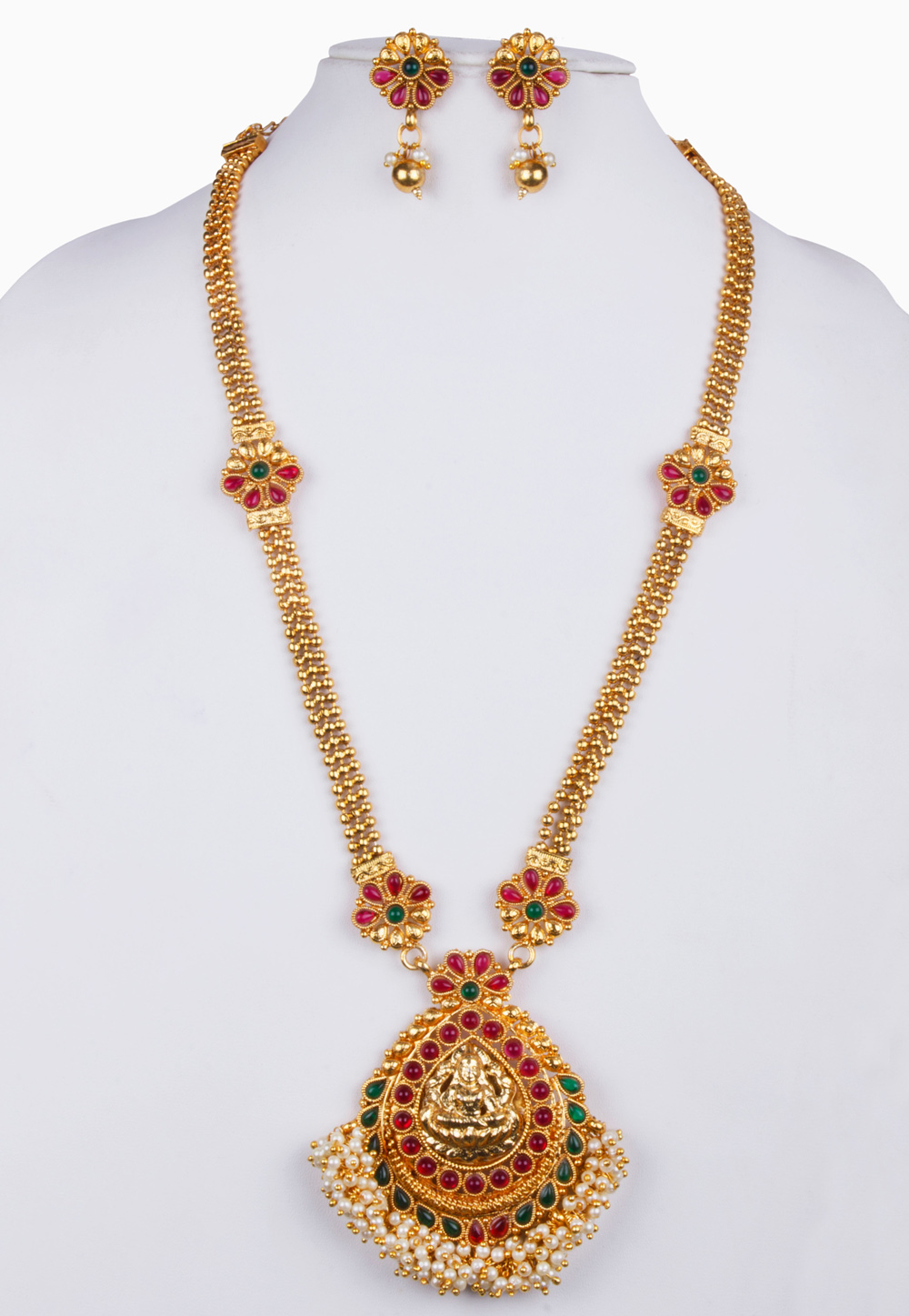 Pink Alloy Necklace With Earrings 157135