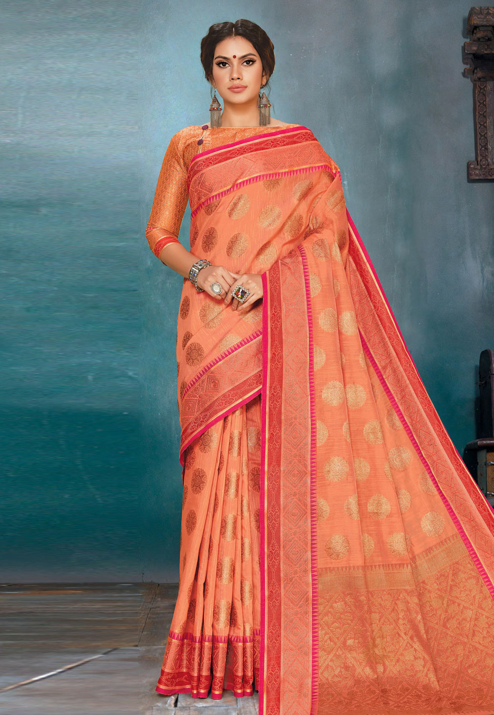 Peach Linen Saree With Blouse 200211