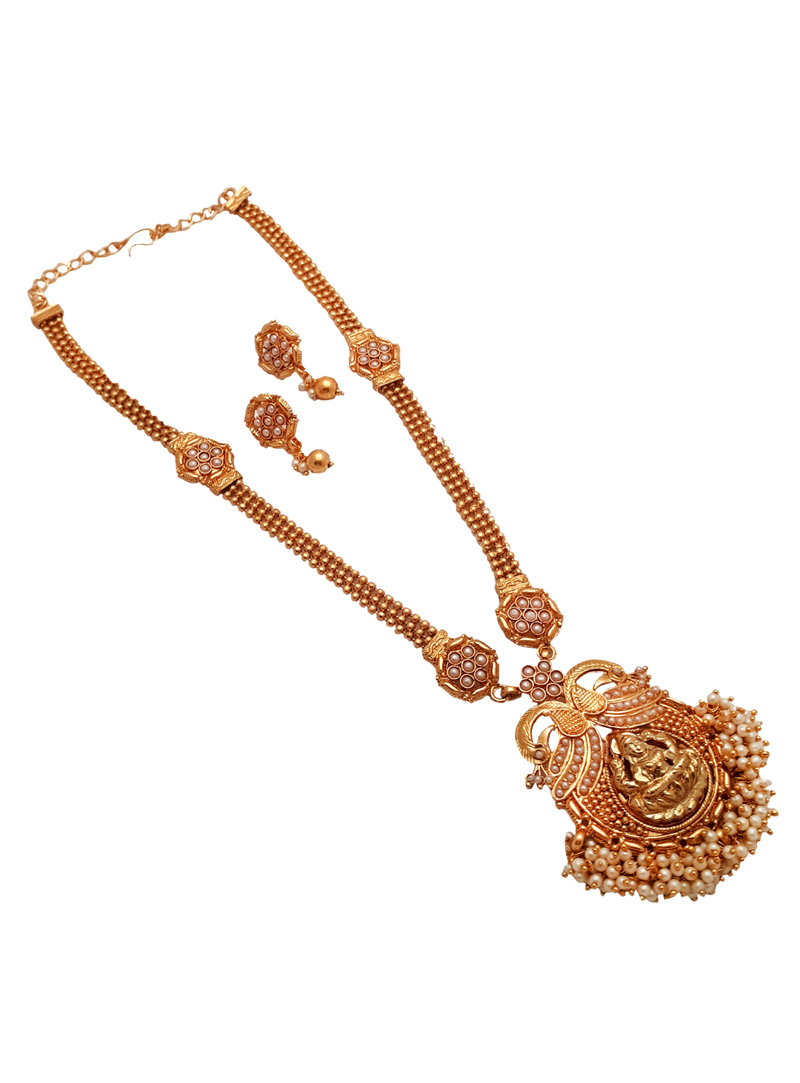 White Alloy Kundan Necklace With Earrings 148754