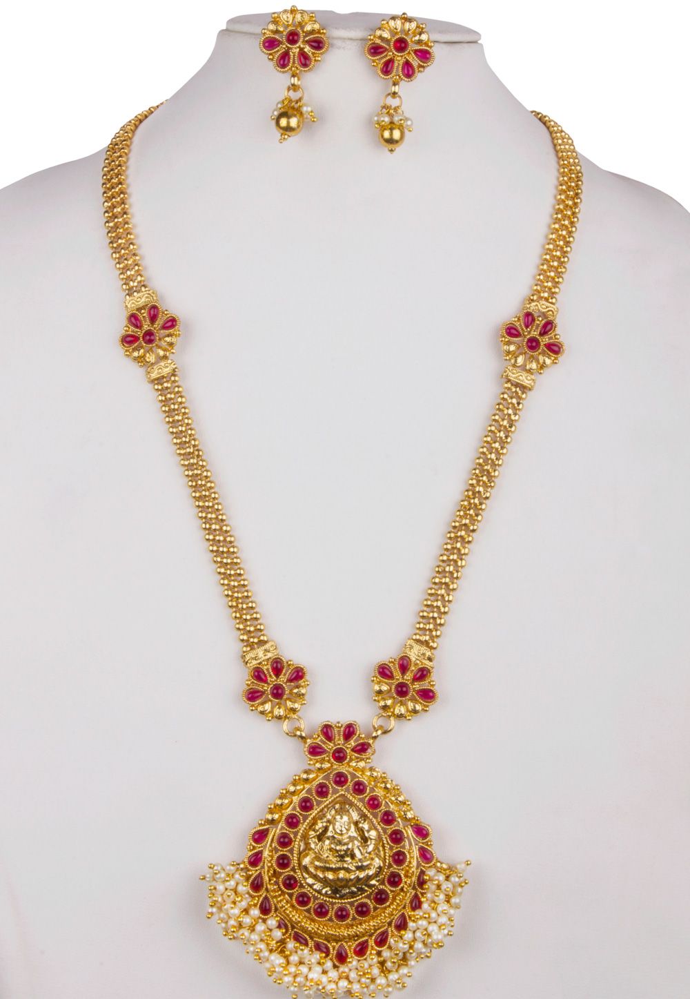 Pink Alloy Necklace With Earrings 157136