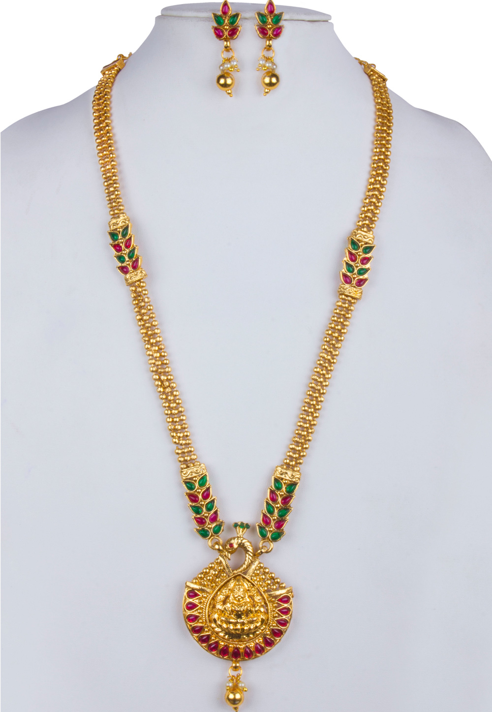 Pink Alloy Necklace With Earrings 157137