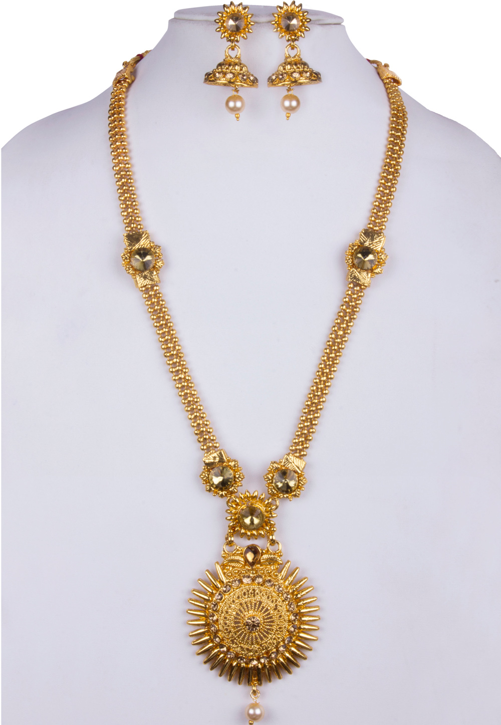 Golden Alloy Necklace With Earrings 157138