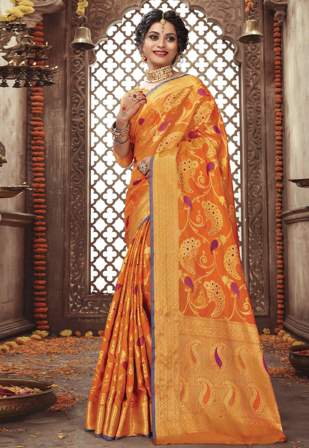 Orange Pure Silk Festival Wear Saree 200254