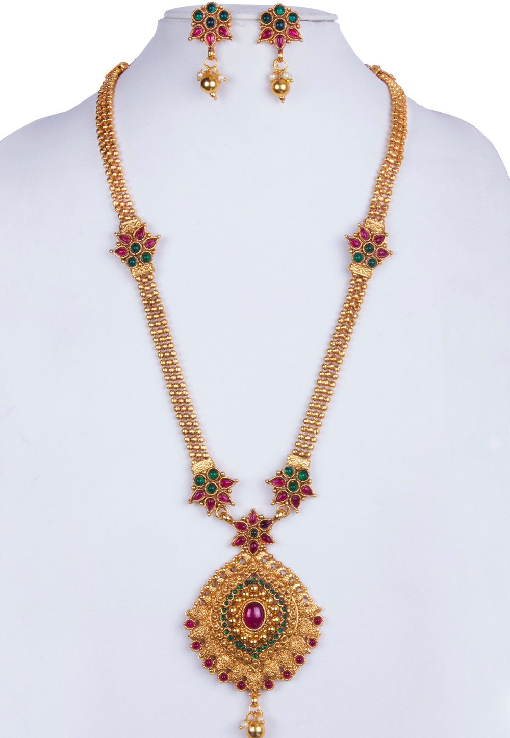 Green Alloy Necklace With Earrings 157139