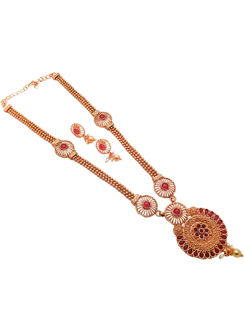 Red Alloy Kundan Necklace With Earrings 148755