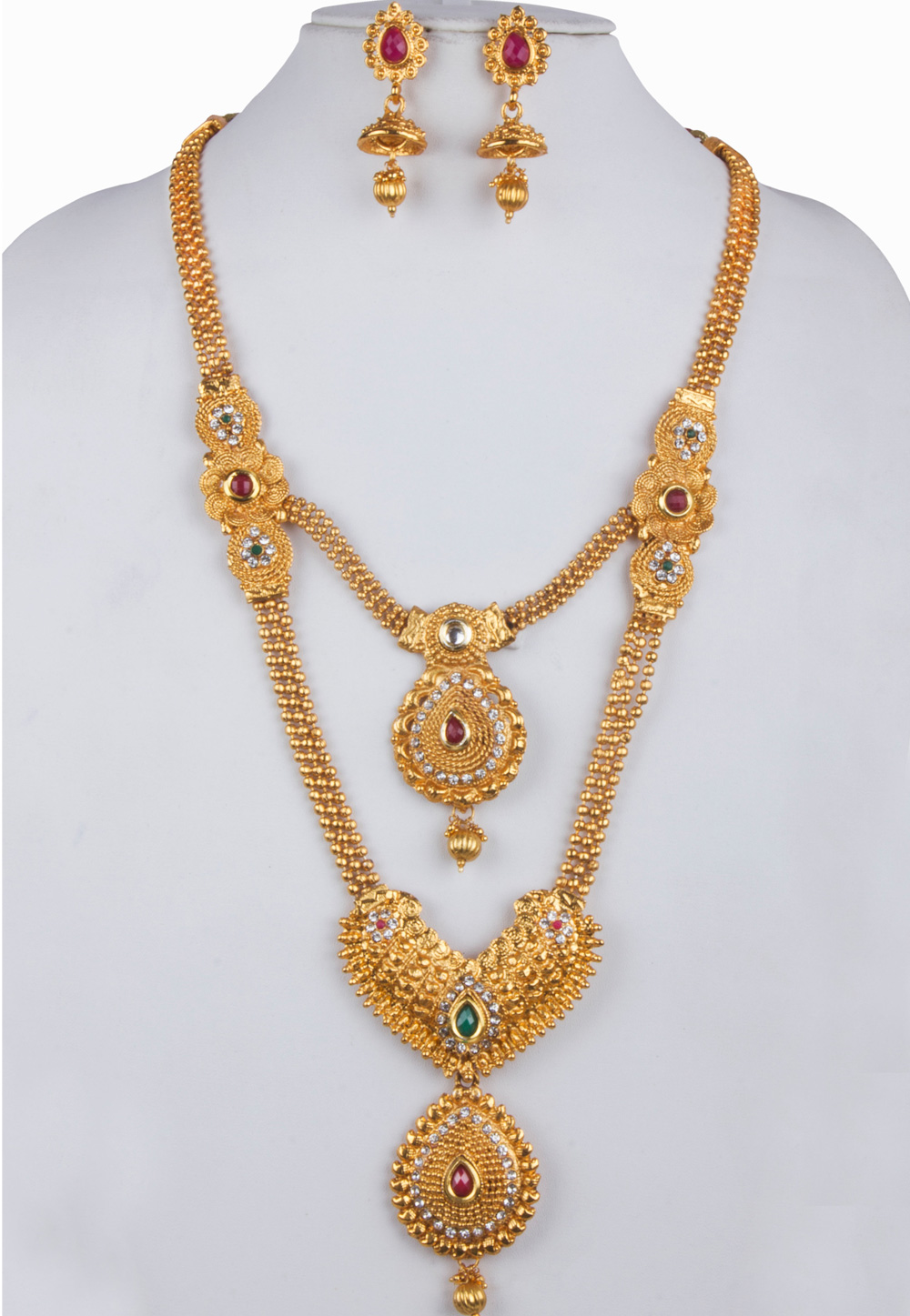 White Alloy Necklace With Earrings 157141