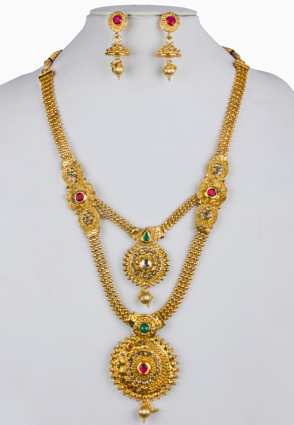 White Alloy Necklace With Earrings 157142