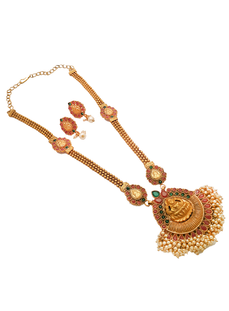 Multicolor Alloy Kundan Necklace With Earrings 148756