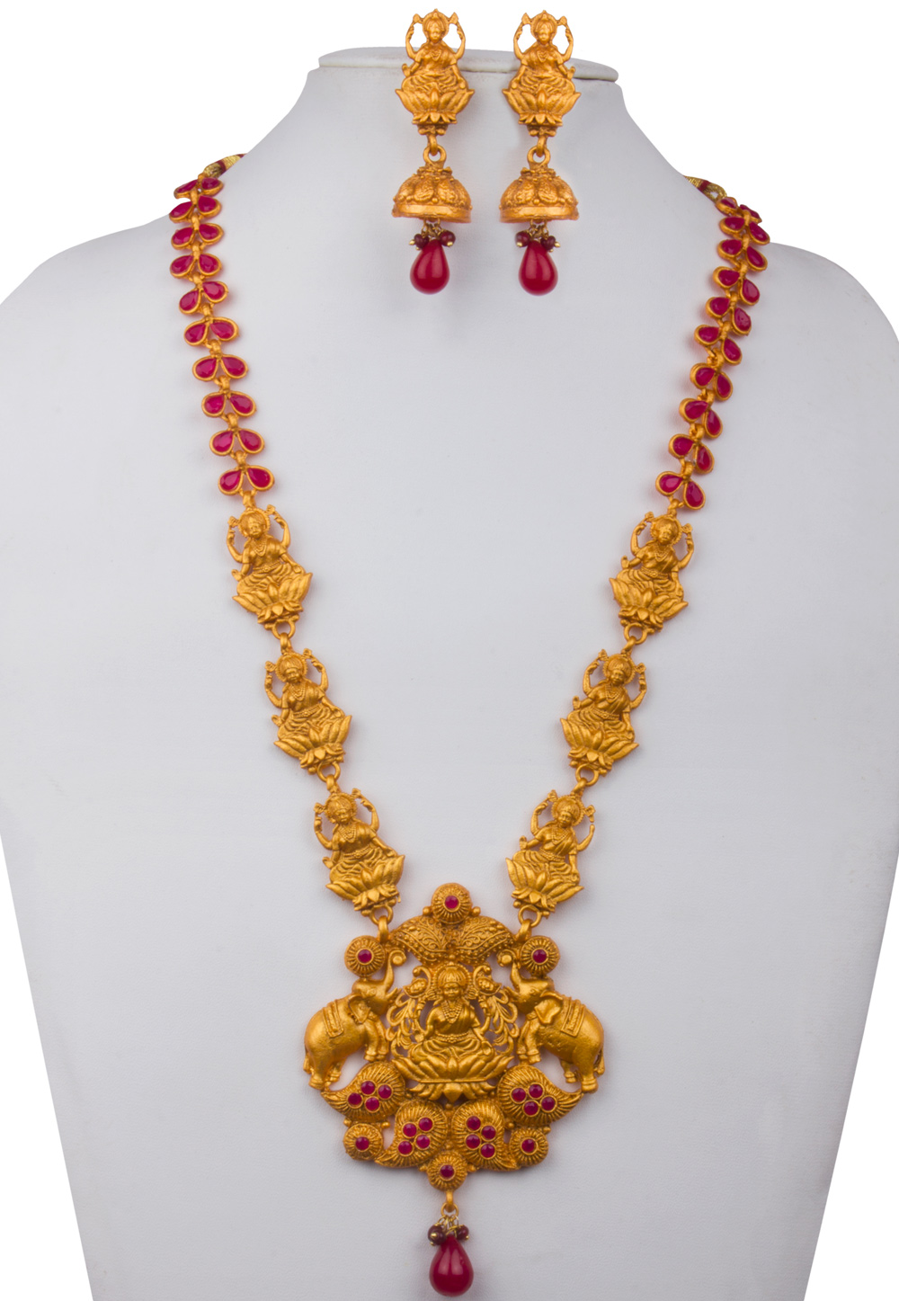 Golden Alloy Kundan Necklace With Earrings 156261