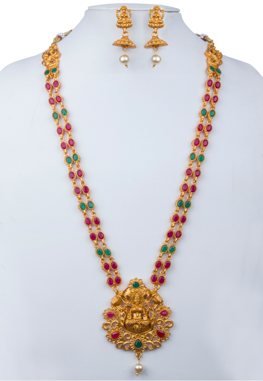 Multicolor Alloy Kundan Necklace With Earrings 156262