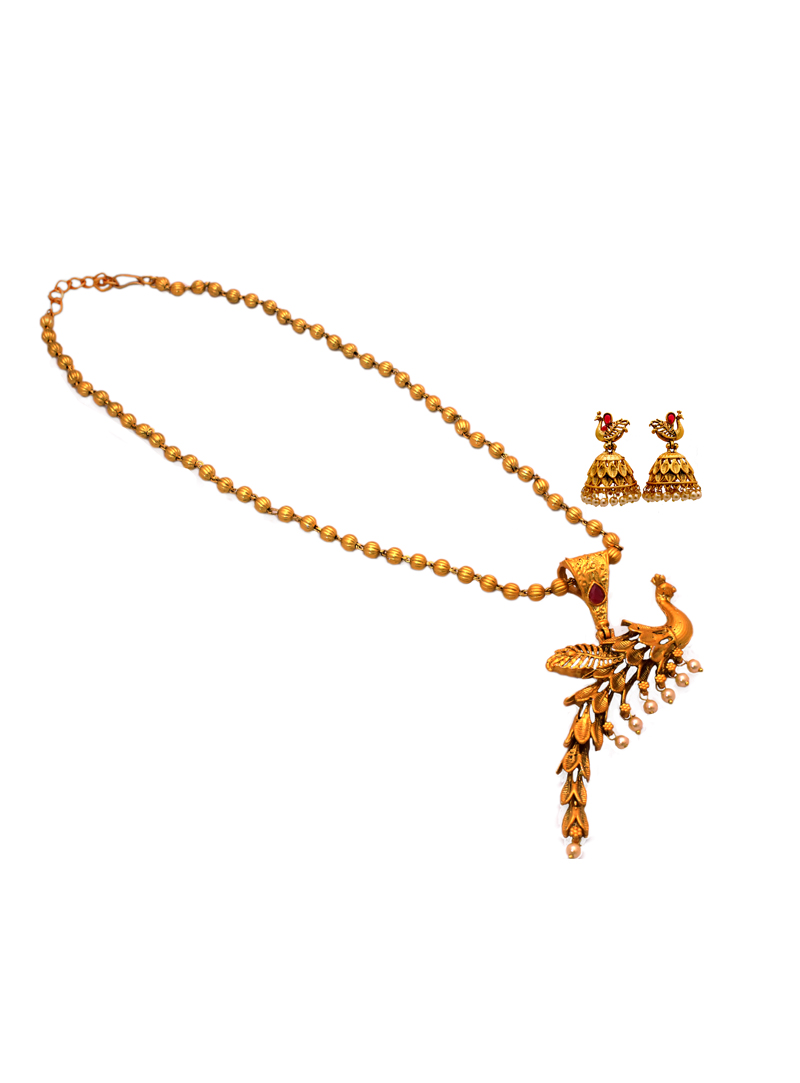 Red Alloy Austrian Diamond Necklace With Earrings 148760