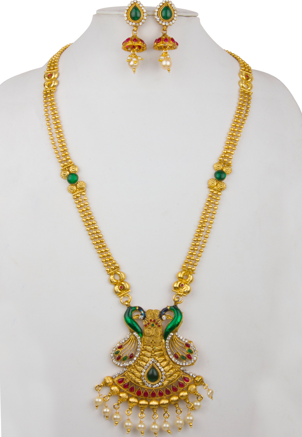 Green Alloy Necklace With Earrings 157145