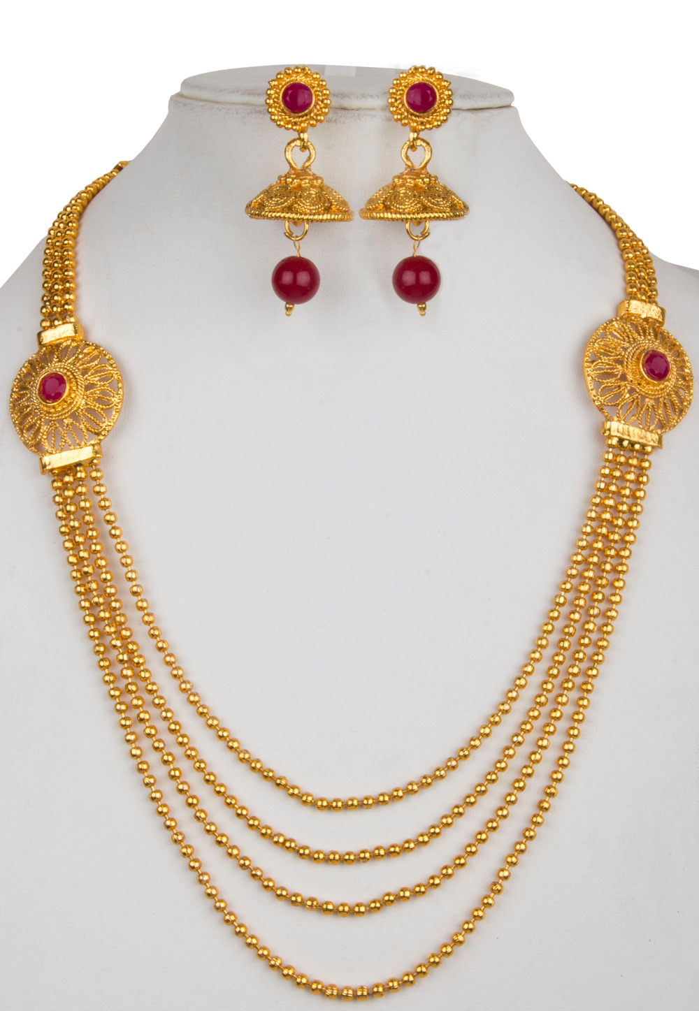Golden Alloy Necklace With Earrings 157147