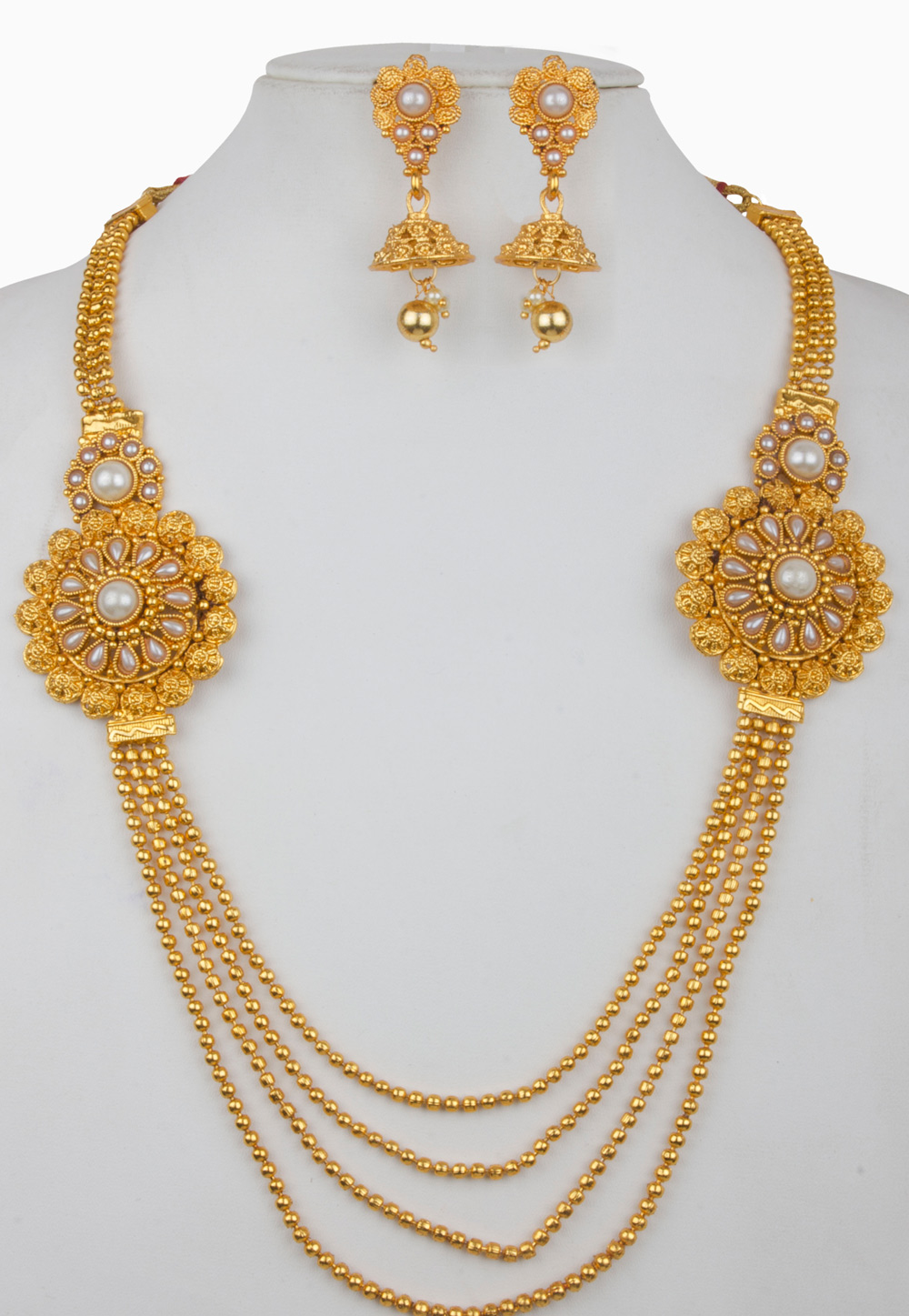 White Alloy Necklace With Earrings 157148