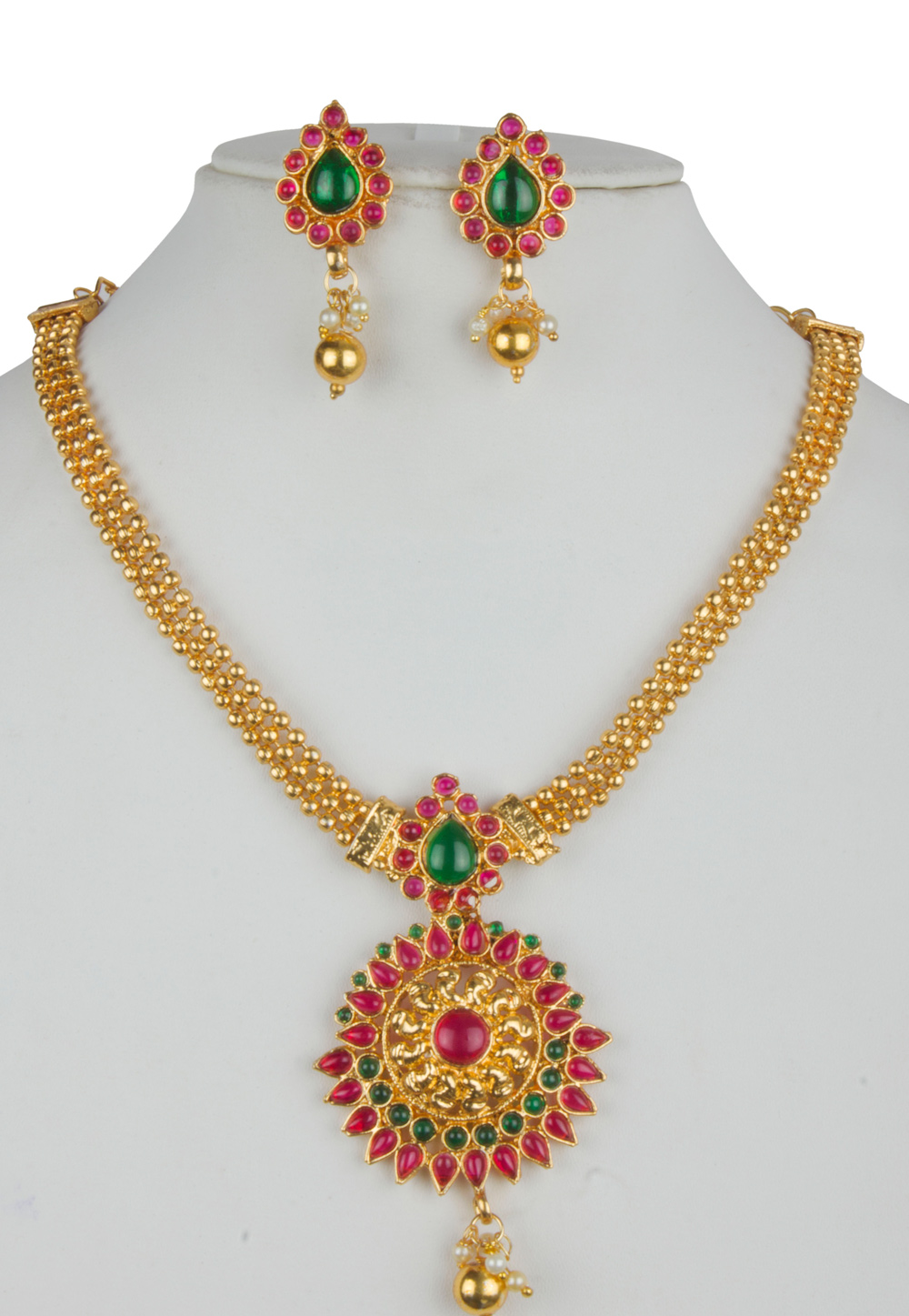 Pink Alloy Necklace With Earrings 157149