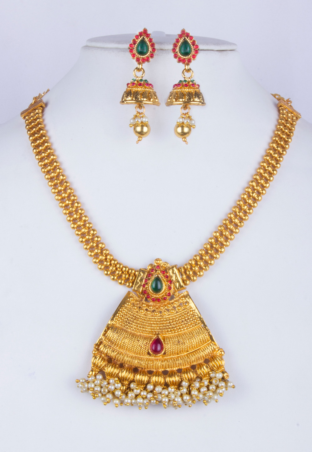 White Alloy Necklace With Earrings 157151