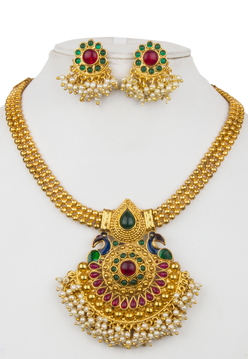 Pink Alloy Necklace With Earrings 157152
