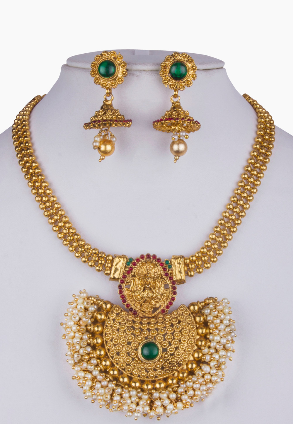 White Alloy Necklace With Earrings 157153
