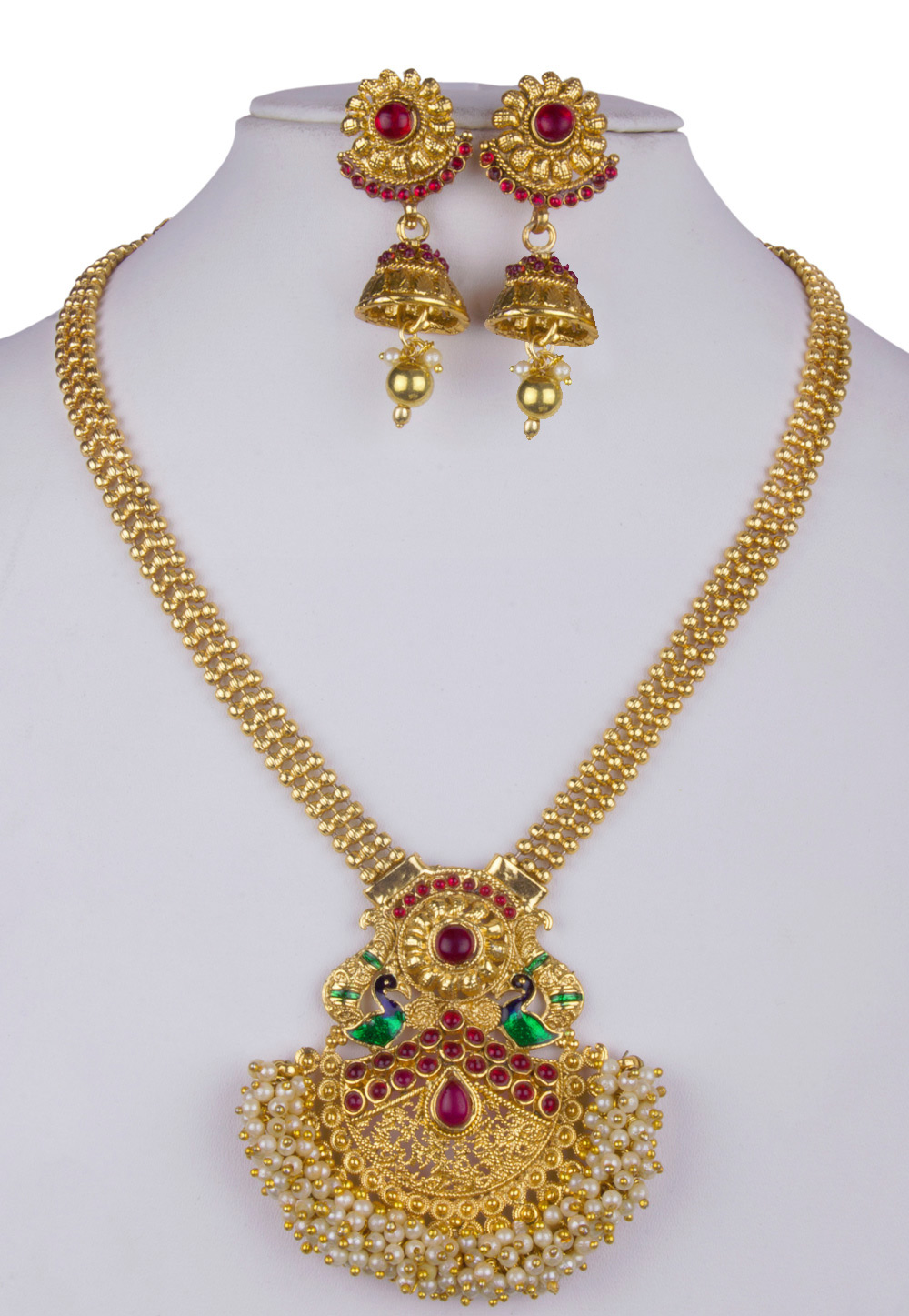 Green Alloy Necklace With Earrings 157154