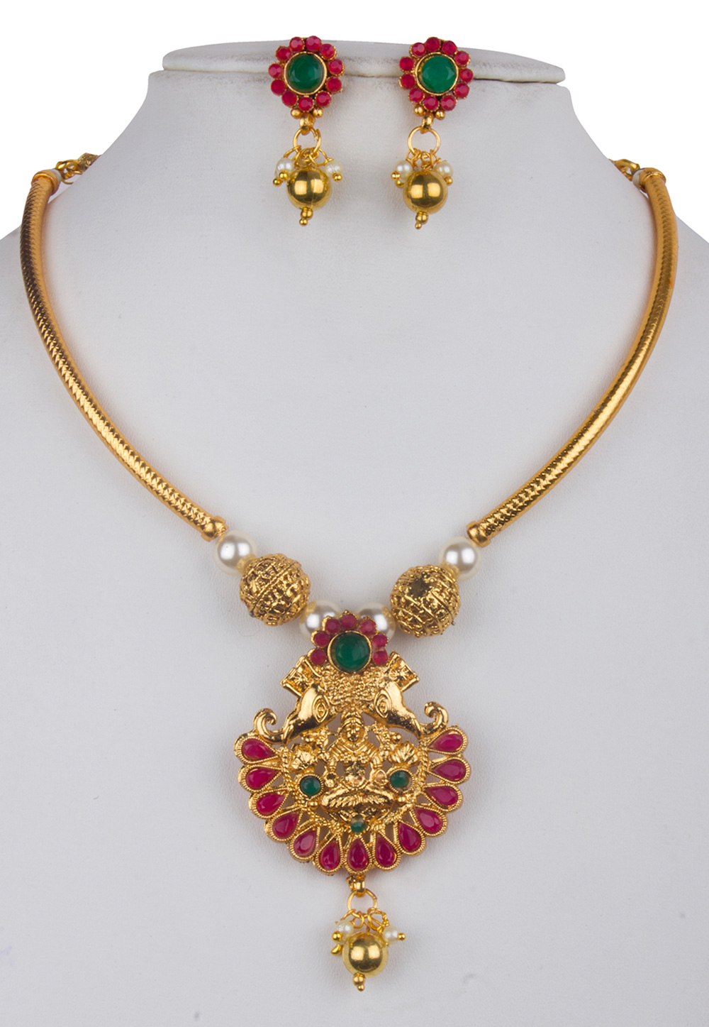 Multicolor Alloy Kundan Necklace With Earrings 156263