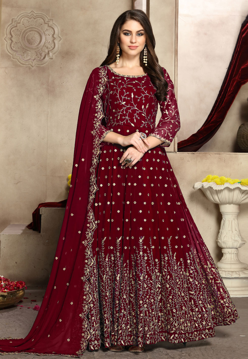Maroon Georgette Embroidered Abaya Style Anarkali Suit 186248