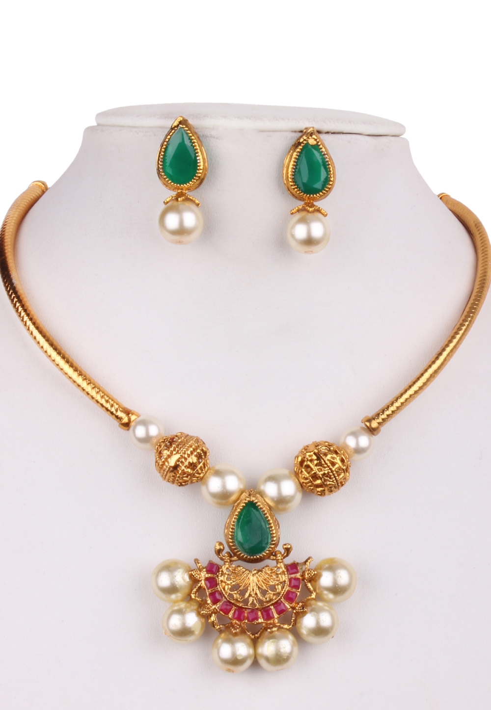 Multicolor Alloy Kundan Necklace With Earrings 156265