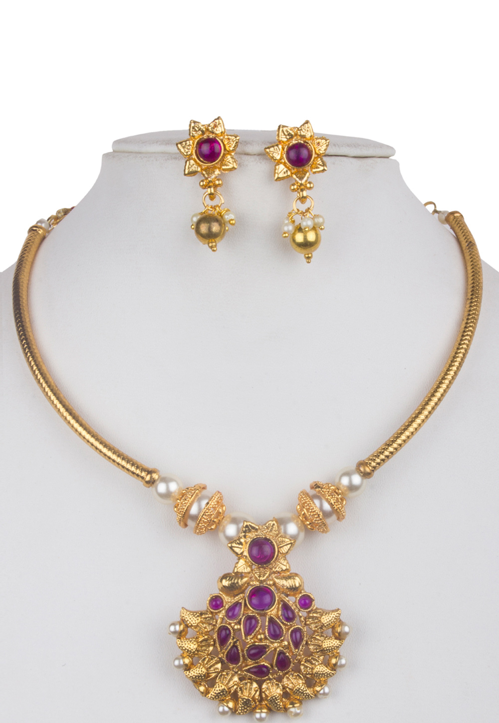 Purple Alloy Kundan Necklace With Earrings 156266