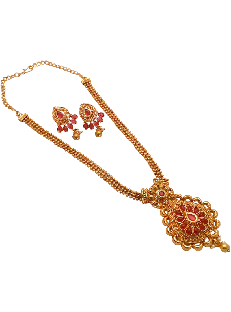 Pink Alloy Kundan Necklace With Earrings 148765