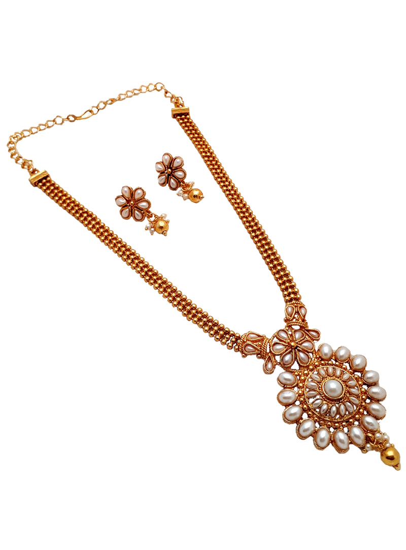 White Alloy Kundan Necklace With Earrings 148766