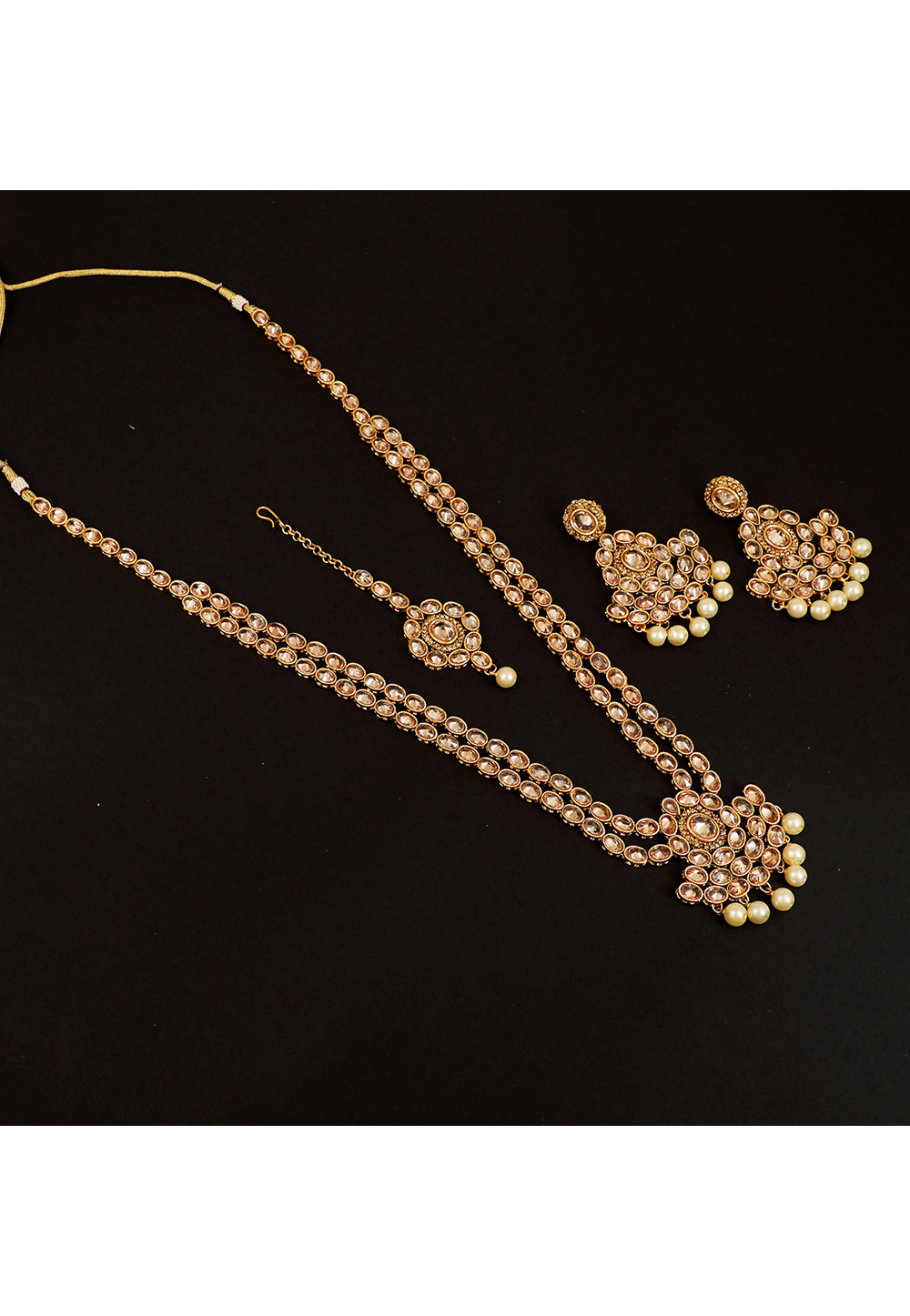 Golden Brass Pearl Set With Earrings and Maang Tikka 161176