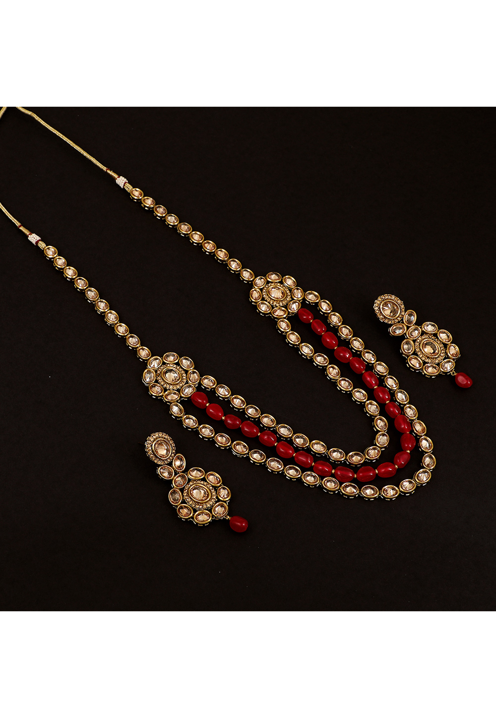 Golden Brass Pearl Long Set With Earrings 161180