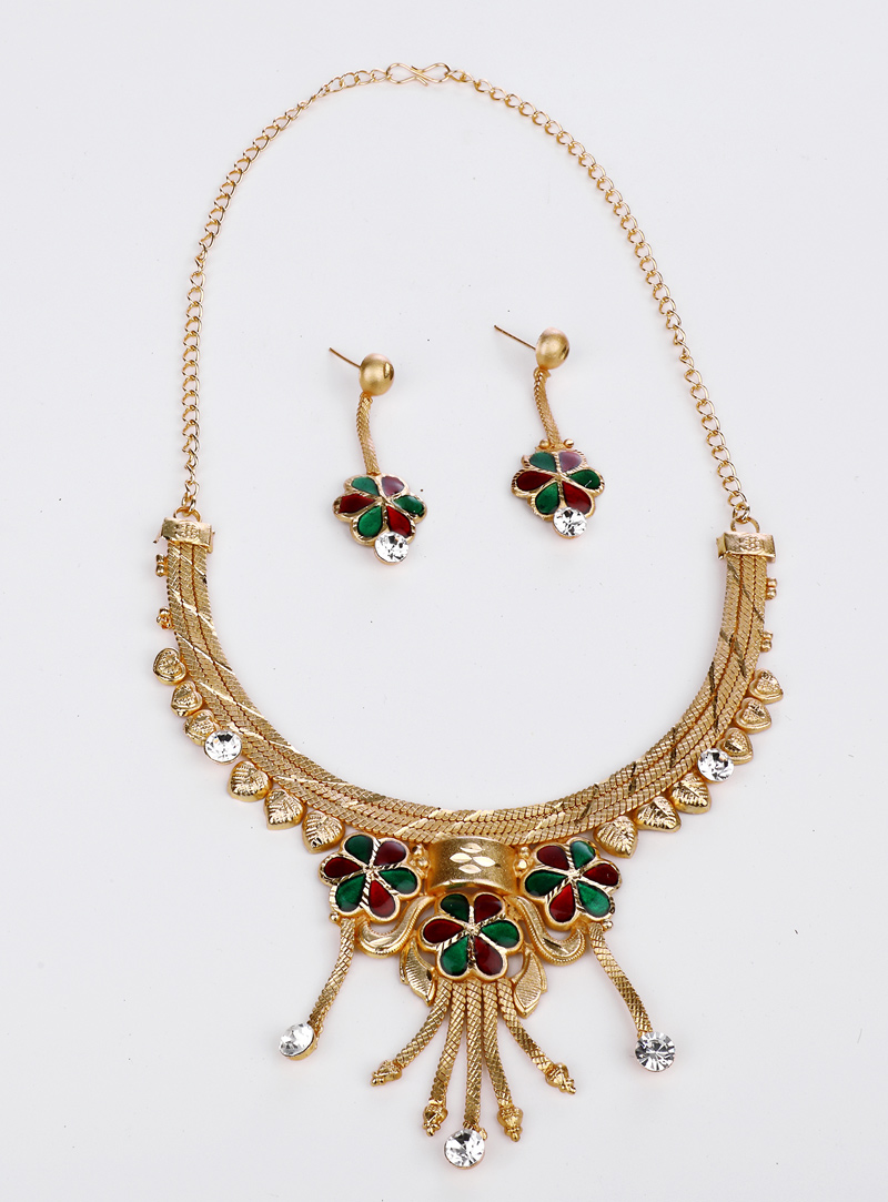 Green Brass Necklace With Earrings 153171