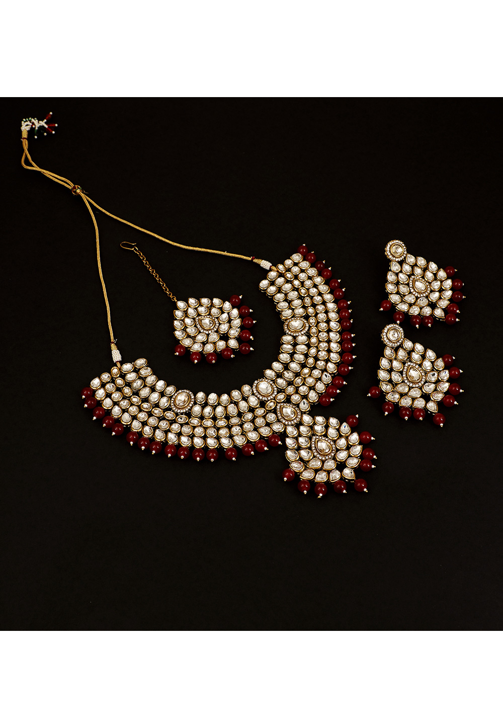 Red Brass Pearl Set With Earrings and Maang Tikka 161185
