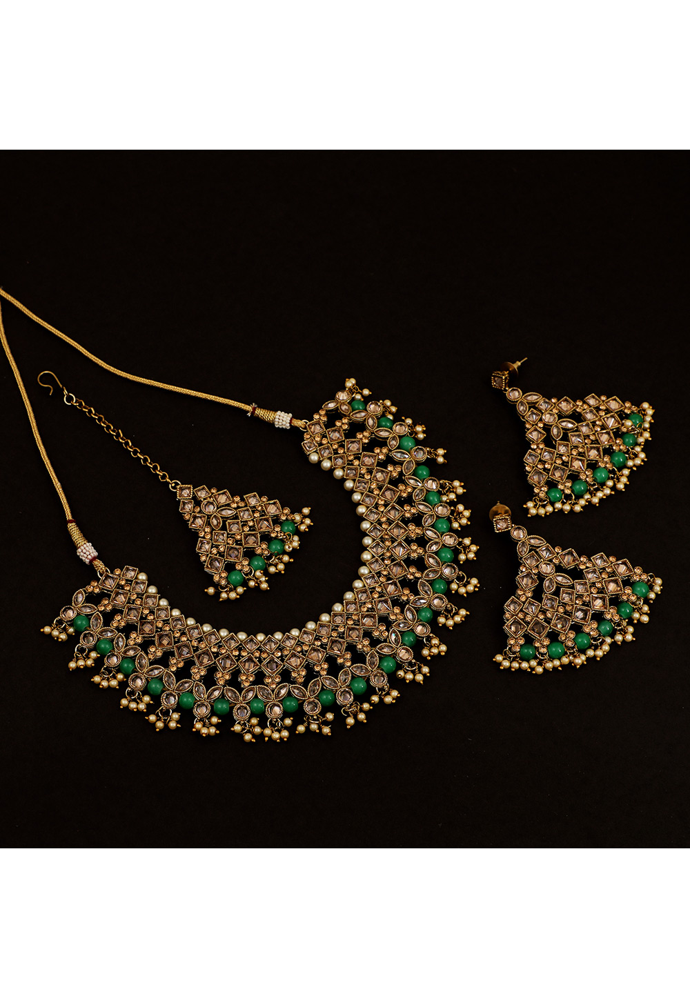 Green Brass Pearl Set With Earrings and Maang Tikka 161187