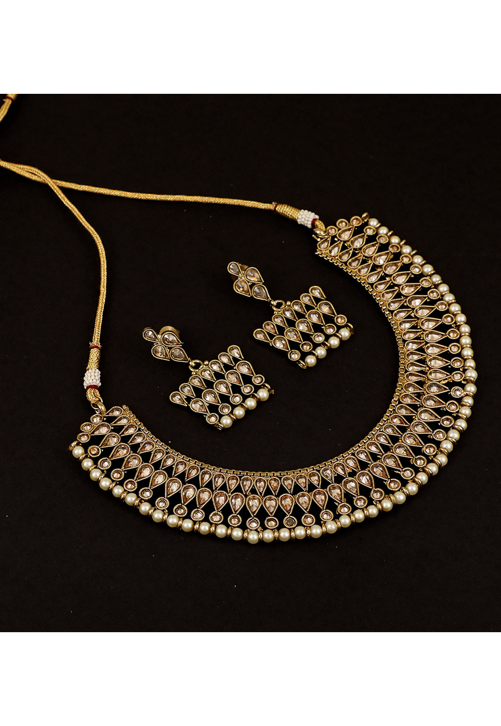 Golden Brass Pearl Set With Earrings 161188