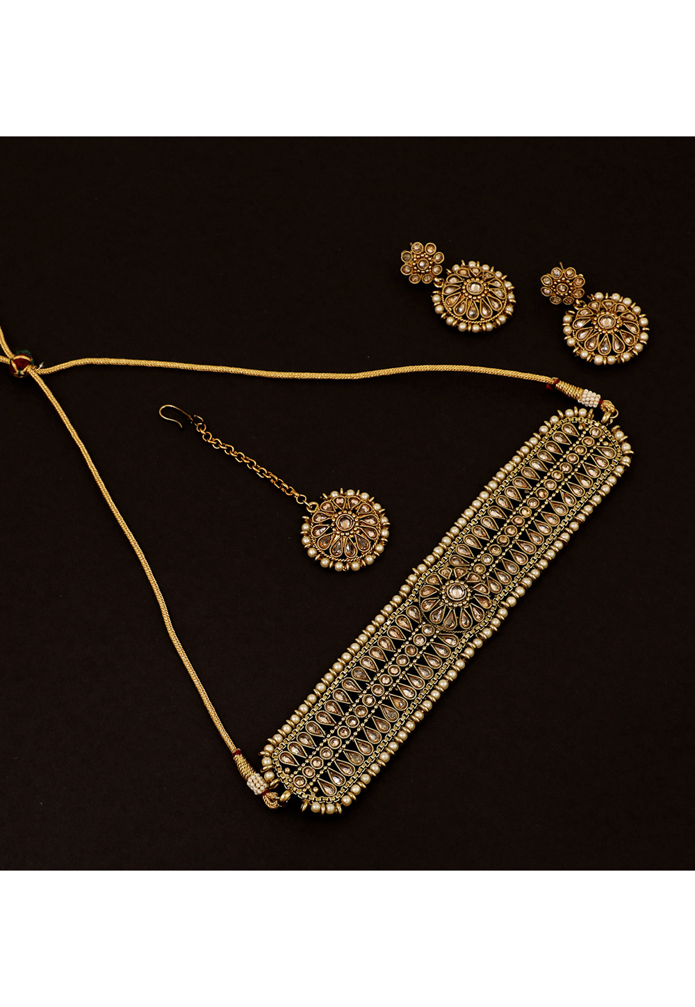 Golden Brass Pearl Set With Earrings and Maang Tikka 161189