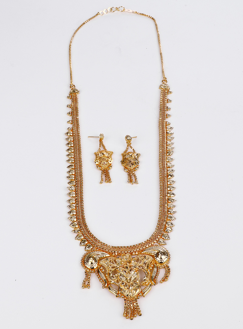 Golden Brass Necklace With Earrings 153178
