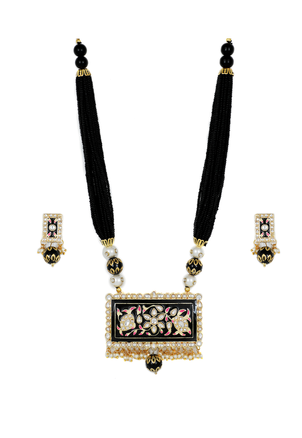 Black Brass Kundan Necklace Set With Earrings 161198
