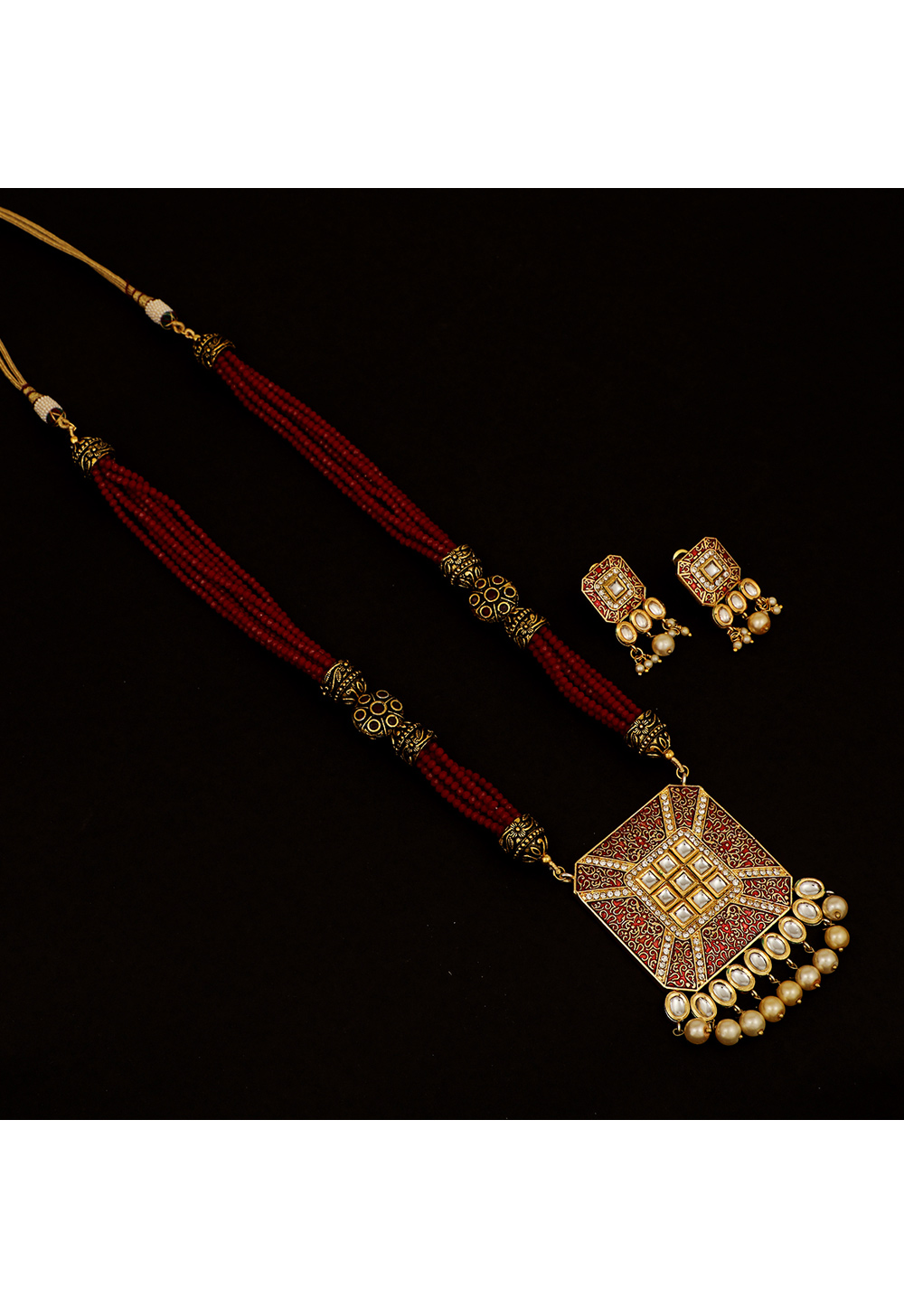Maroon Brass Kundan Necklace Set With Earrings 161199