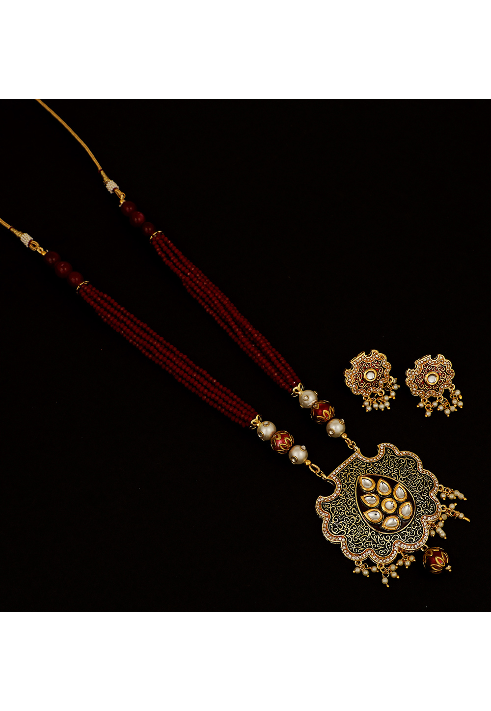 Maroon Brass Kundan Necklace Set With Earrings 161200